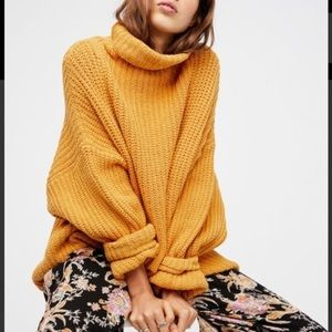Free people oversized turtle neck mustard sweater